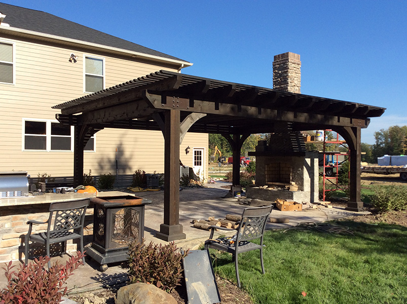 18x22 Kingston Pergola Cinder Stain